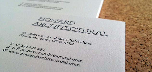 Howard Architectural's corporate stationary - letterheads and compliment slips.